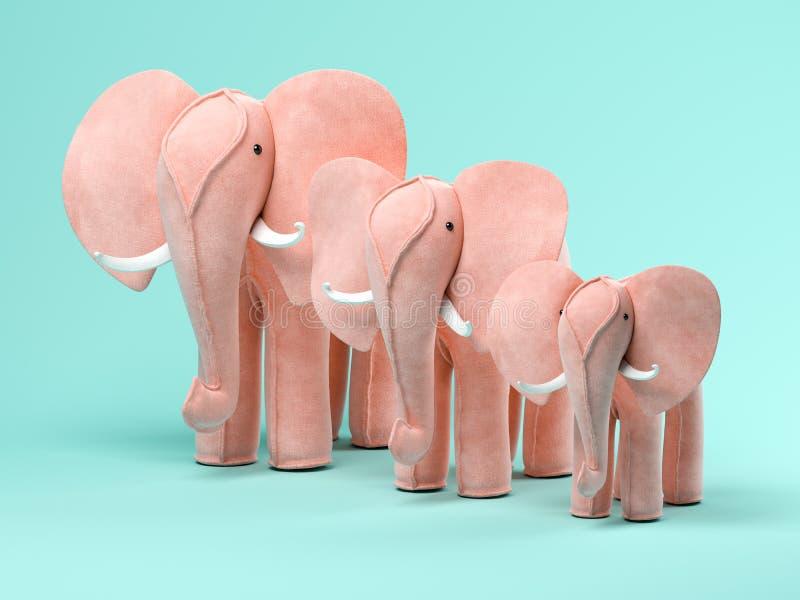 Elefanti rosa sull'illustrazione blu del fondo 3D fotografia stock libera da diritti