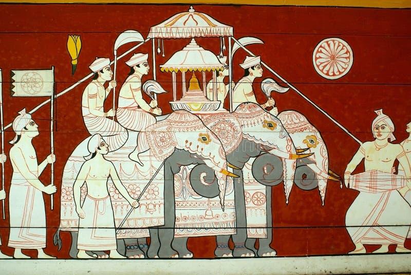 Elefanti sulla parete immagine stock