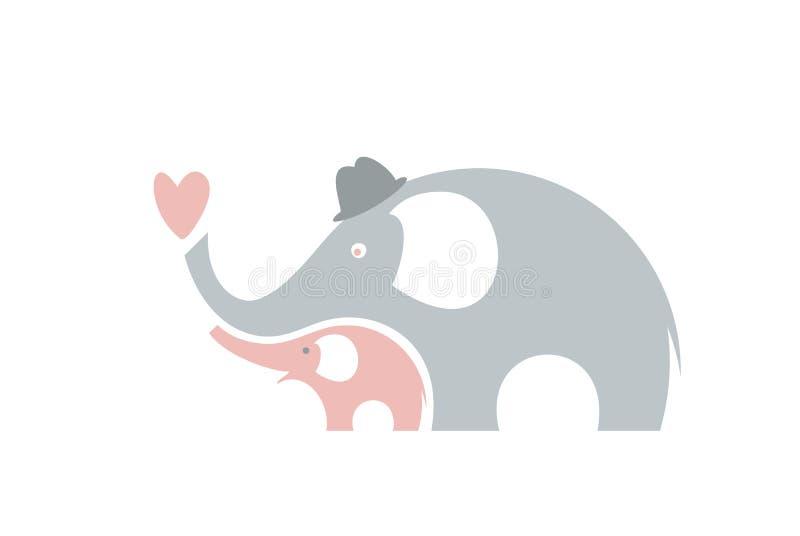Elefanti svegli Giorno di padri felice illustrazione vettoriale