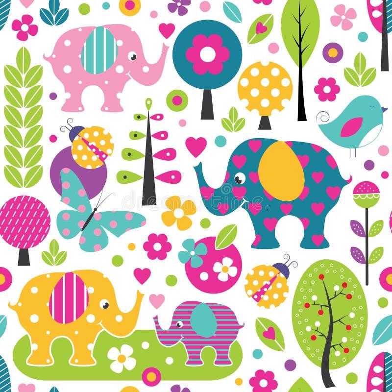 Elefanti svegli nel modello variopinto della foresta illustrazione di stock