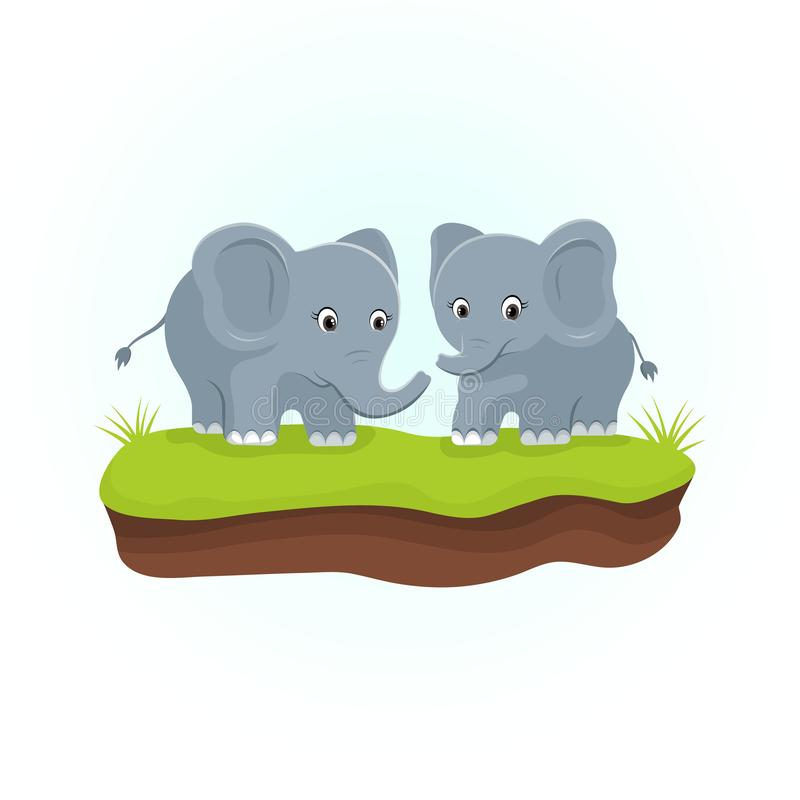 Elefanti svegli sulle erbe verdi Personaggio dei cartoni animati degli animali illustrazione vettoriale