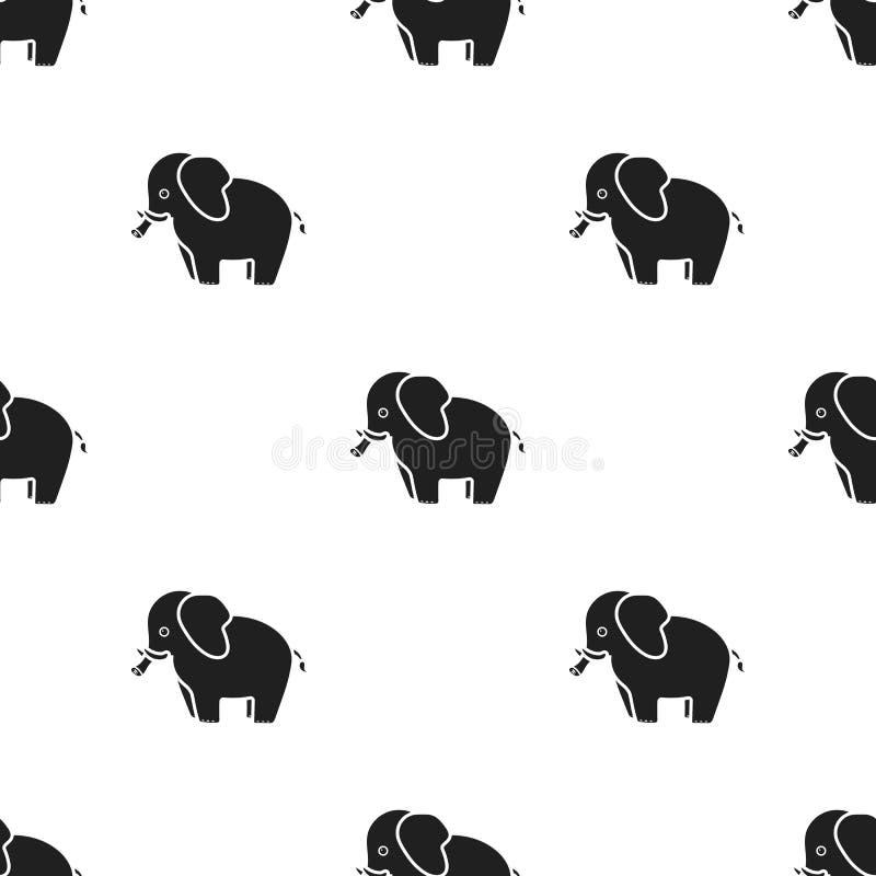 Elefantikone in der schwarzen Art lokalisiert auf weißem Hintergrund Tiermustervorrat-Vektorillustration stock abbildung