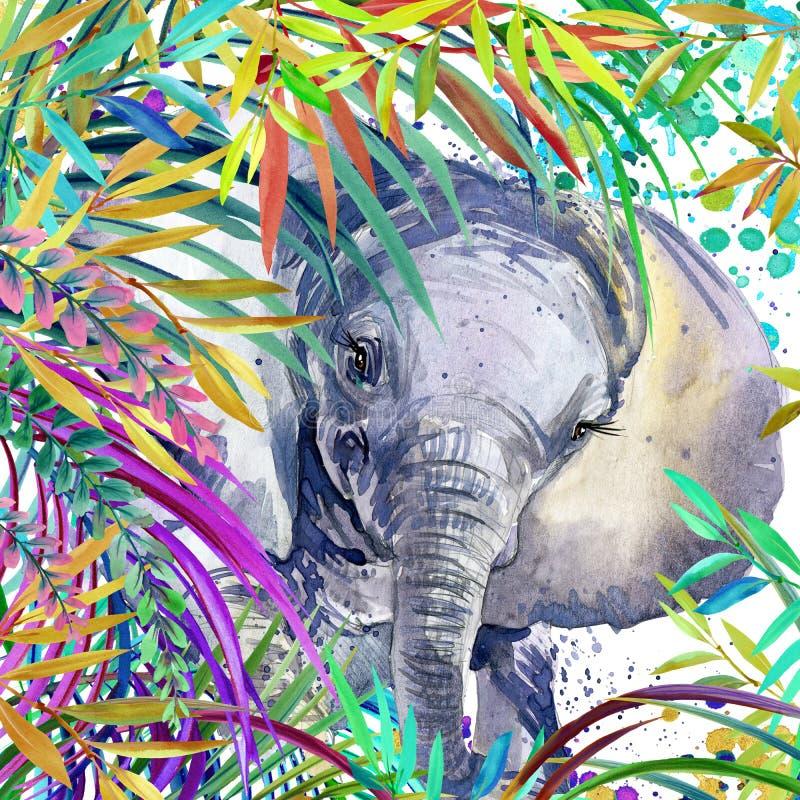 Elefantillustration Tropisk exotisk skog, gröna sidor, djurliv, elefant, vattenfärgillustration vektor illustrationer