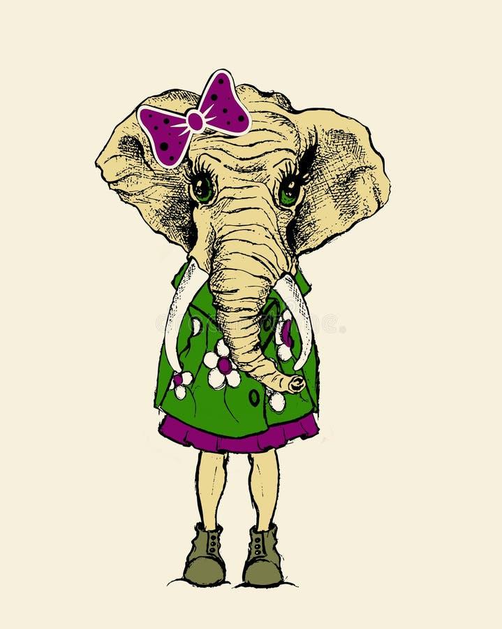 Elefantkarikaturillustration, T-Shirt Grafik vektor abbildung