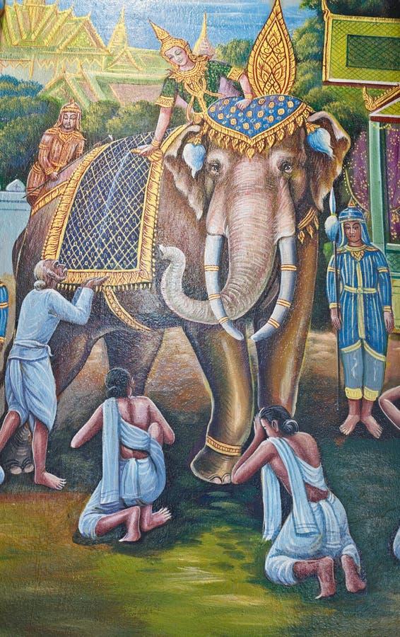 Elefantmålning på väggen i tempel arkivbilder