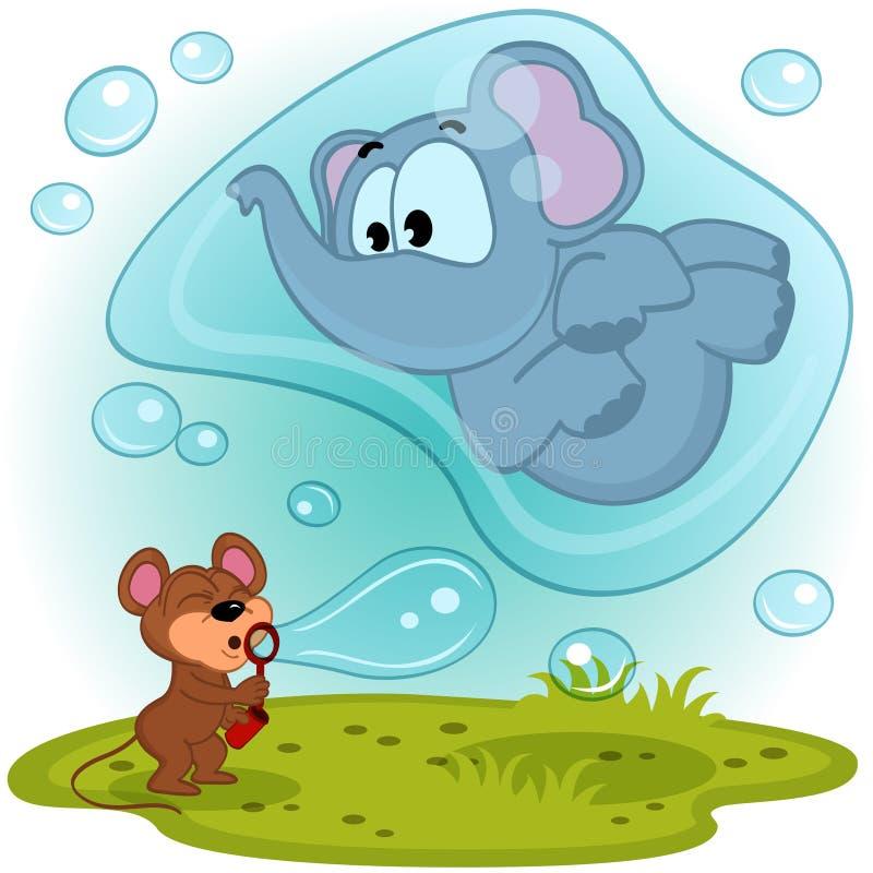 Elefantmaus und Blasengebläse vektor abbildung