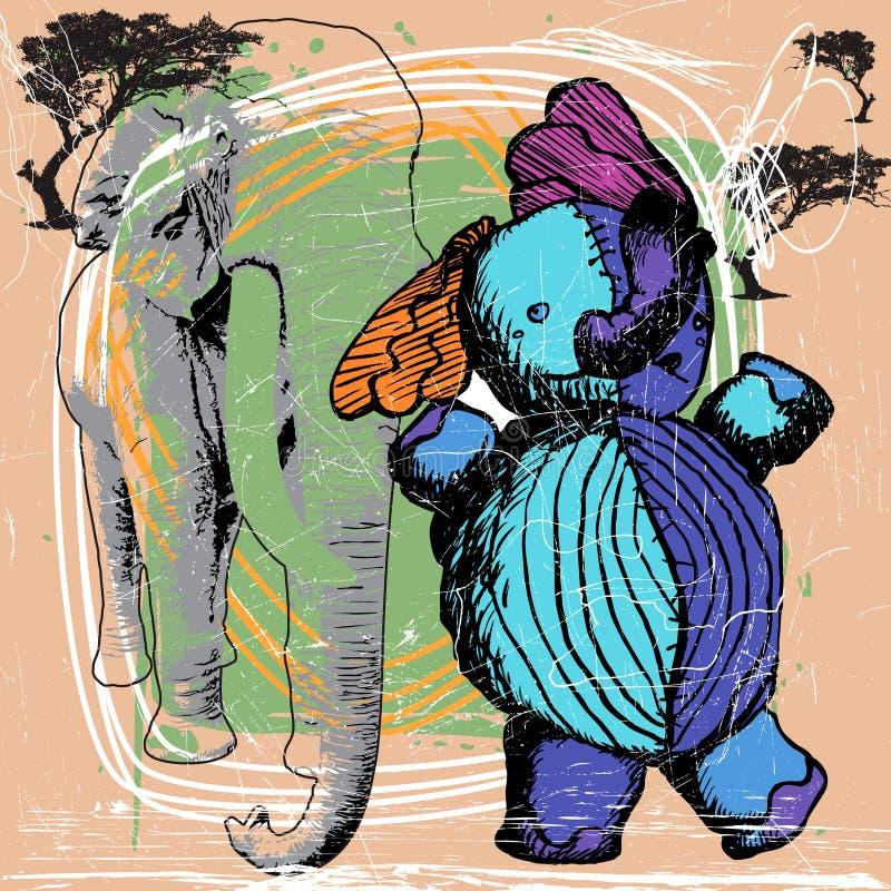 elefantnr. för 2 blue stock illustrationer