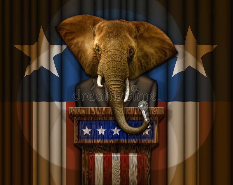 Elefantpolitiker Standing på ett podium vektor illustrationer