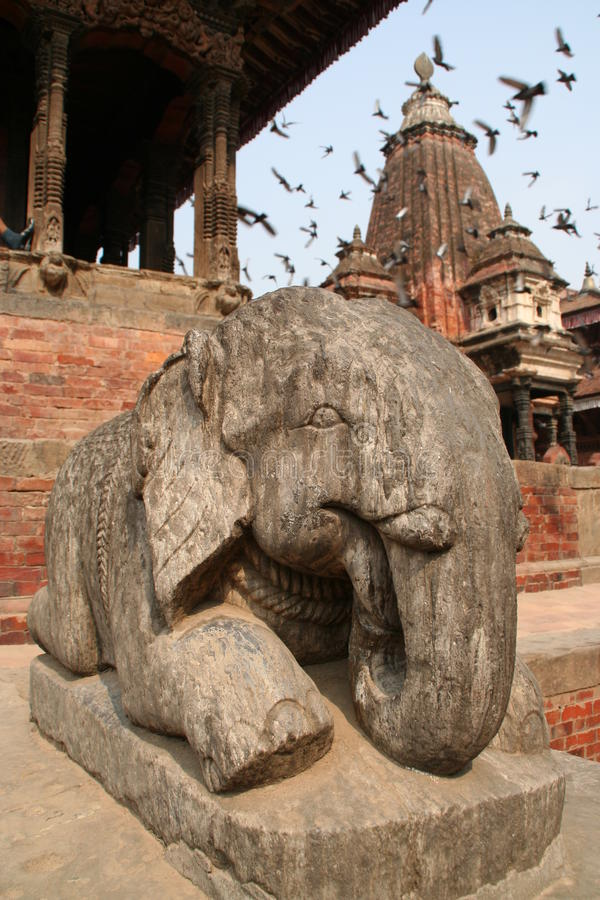 Elefantstatus in Kathamndu Durbarsquare lizenzfreies stockbild