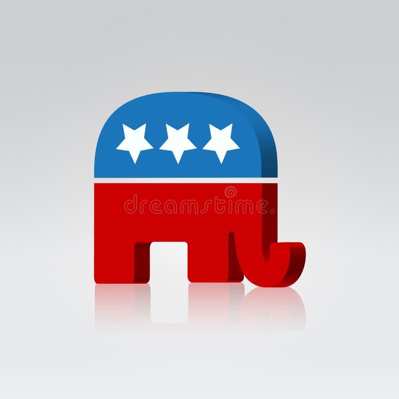 Elefantsymbolamericanen röstar aktion royaltyfri illustrationer