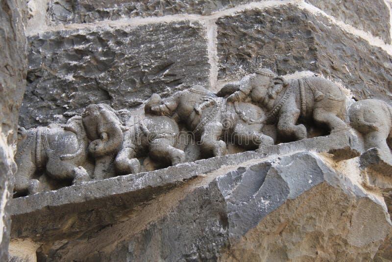 Elefantsymboler på det Ausa fortet royaltyfria bilder