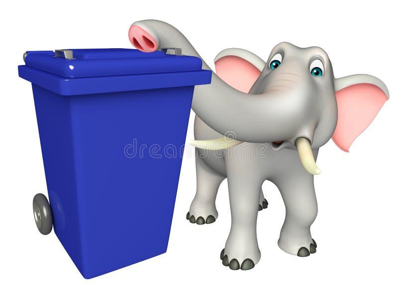 Elefanttecknad filmtecken med dusbin royaltyfri illustrationer