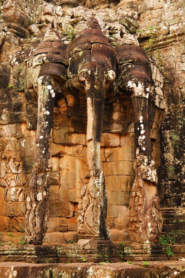 Elefantterrass, Ankgor Thom royaltyfri fotografi