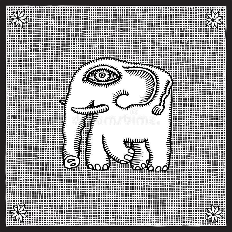 elefantträsnitt royaltyfri illustrationer