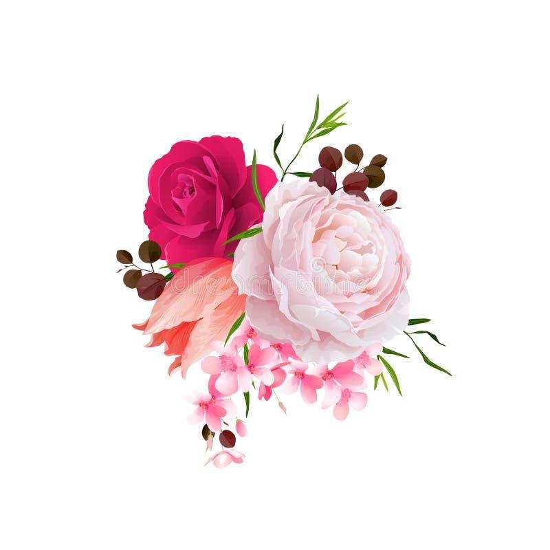 A elegância floresce o ramalhete de rosas e de tulipa da cor Composição com flores da flor Ilustração do vetor ilustração do vetor