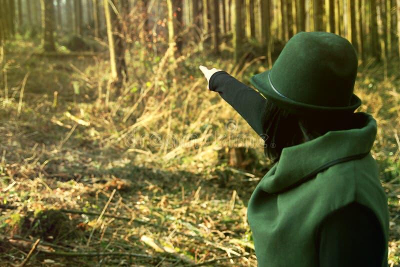 Eleganccy żeńscy leśniczych punkty w odległość jej las obrazy royalty free