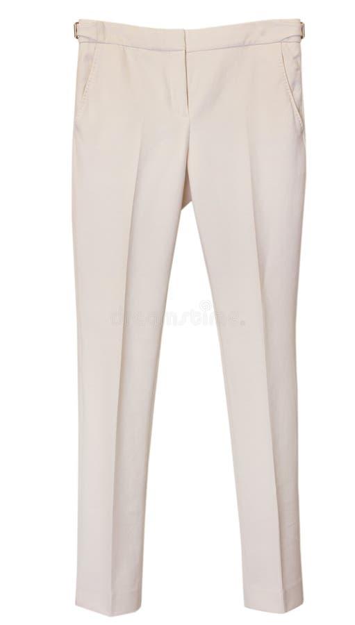Eleganccy beżowi klasyczni żeńscy spodnia odizolowywający obraz stock