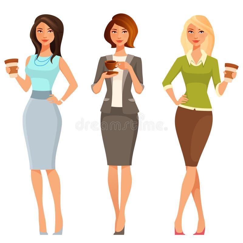 Eleganccy bizneswomany z kawą ilustracja wektor