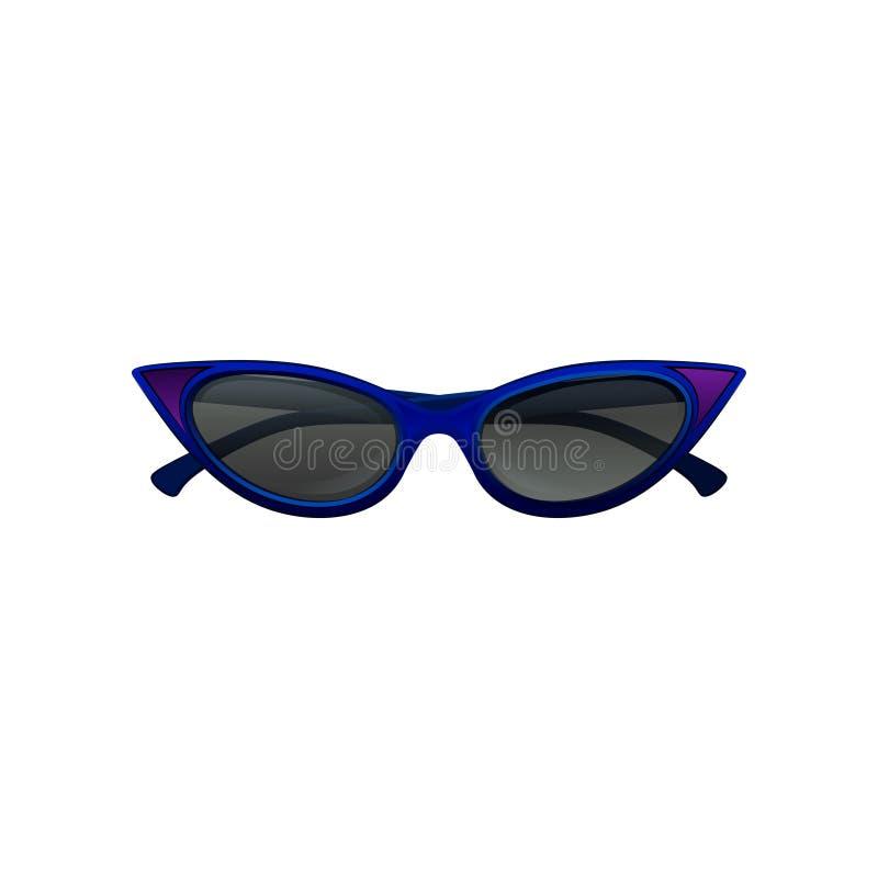 Eleganccy kota oka okulary przeciwsłoneczni z błękita czernią i ramą zabarwiali obiektywy Ochronny eyewear dla eleganckich kobiet royalty ilustracja
