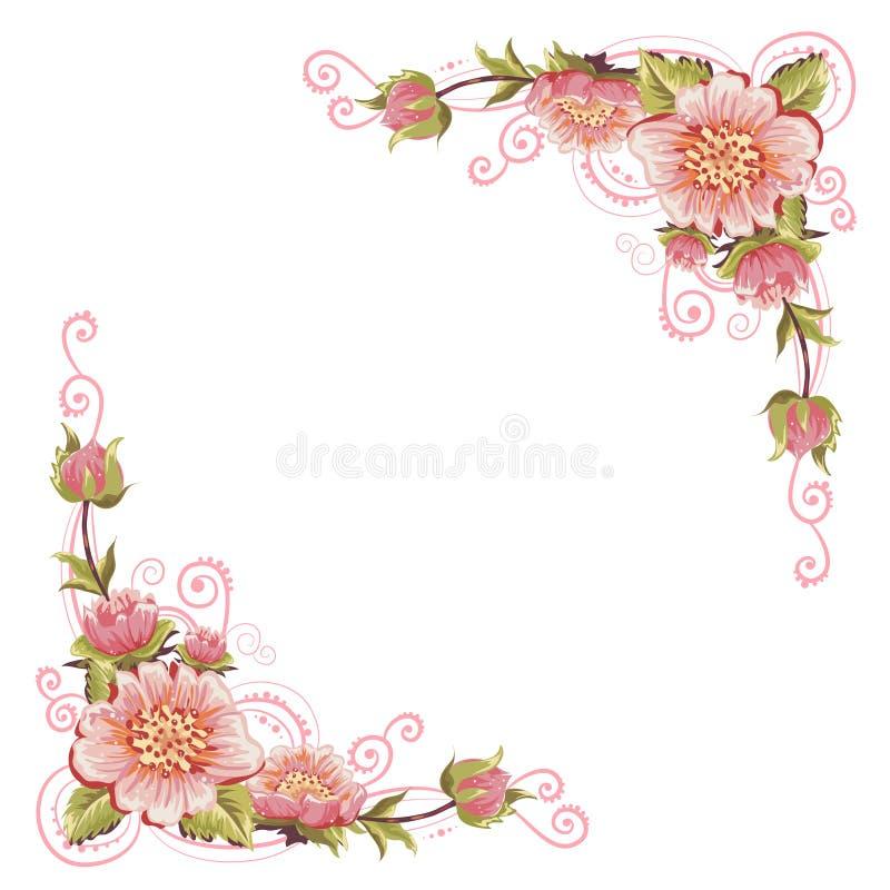 Eleganccy krzywa kwiatu kąty ilustracja wektor