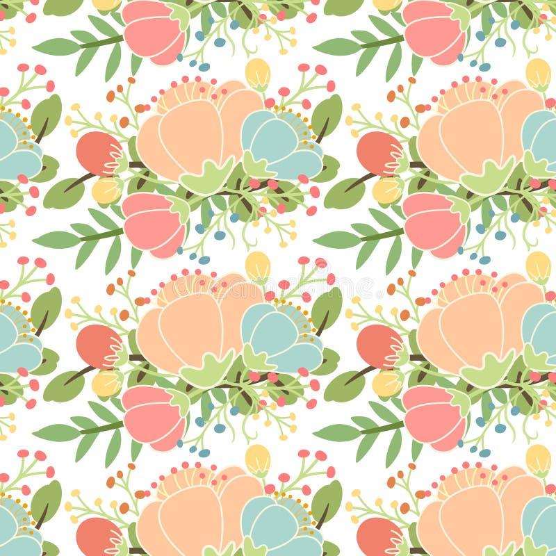eleganccy kwiaty deseniują bezszwowego royalty ilustracja