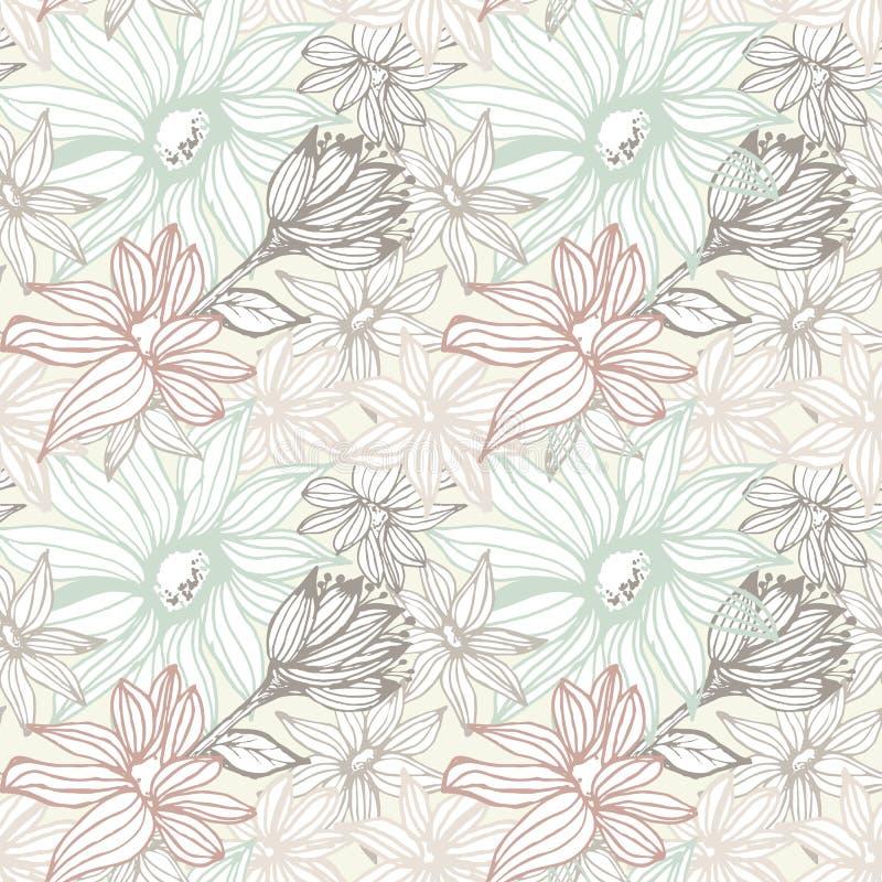 eleganccy kwiaty deseniują bezszwowego ilustracja wektor