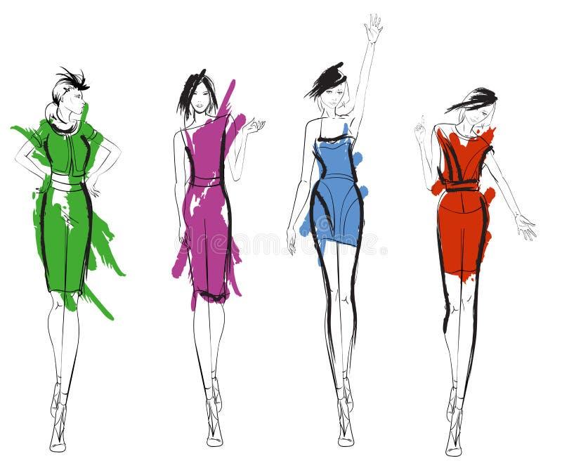 Eleganccy moda modele Ładne młode dziewczyny ilustracji