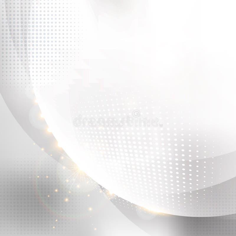 Eleganccy okręgi biali z halftone abstrakcjonistycznym białym tłem ilustracja wektor