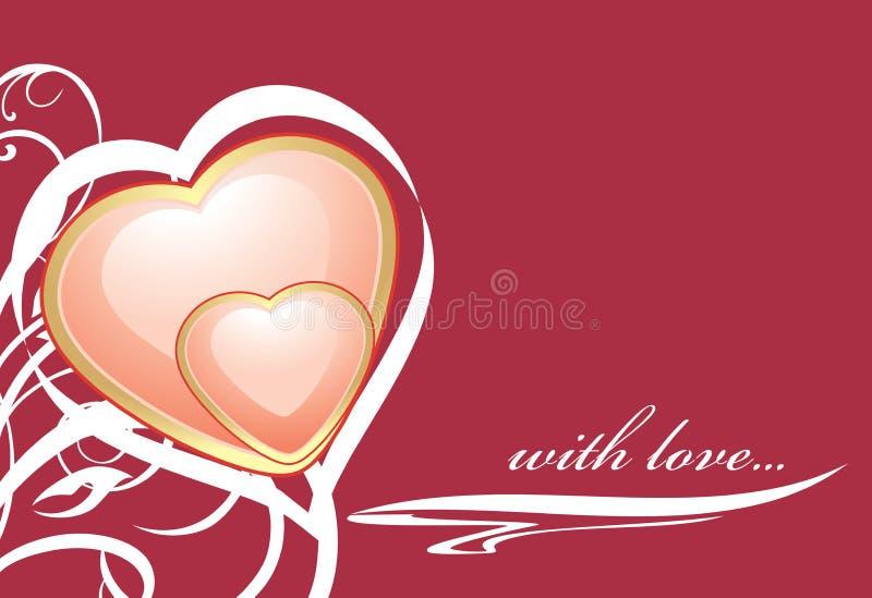 Eleganccy różowi serca na zmroku - czerwony tło royalty ilustracja
