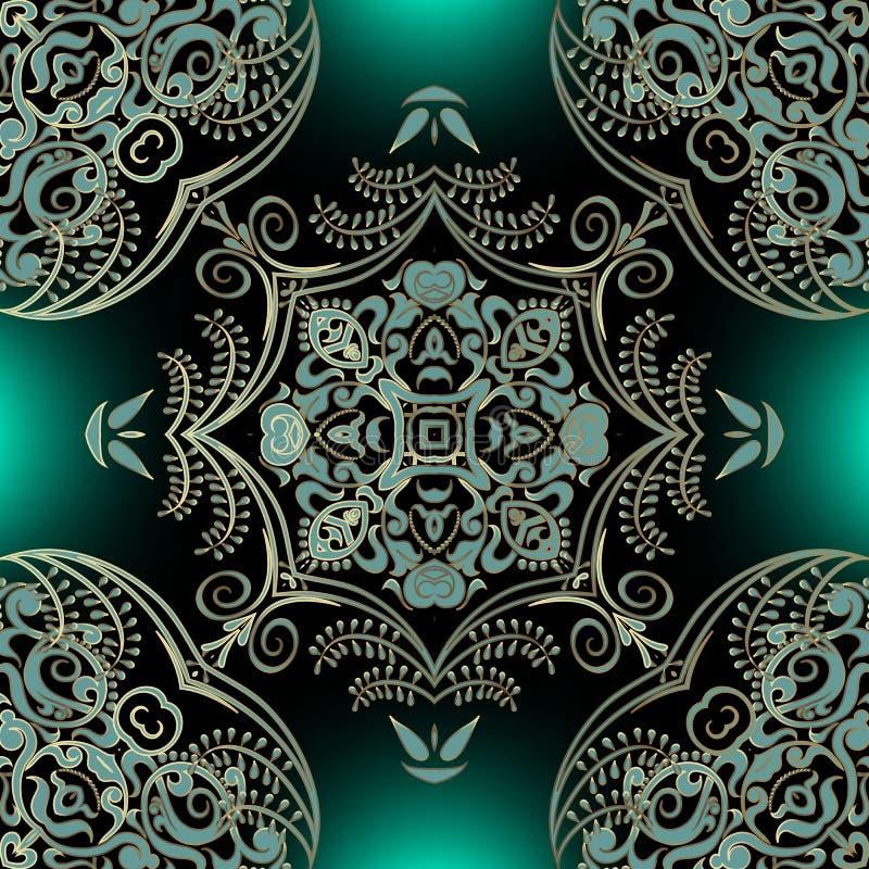 Elegance arabesque colorida vetor sem descontinuidades Lindos planos de fundo decorativos Estilo arábico borrado floral ilustração stock