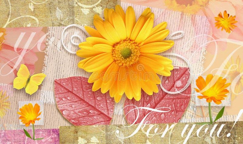 Elegance autumnal postcard with beautiful gerbera flowers. vector illustration