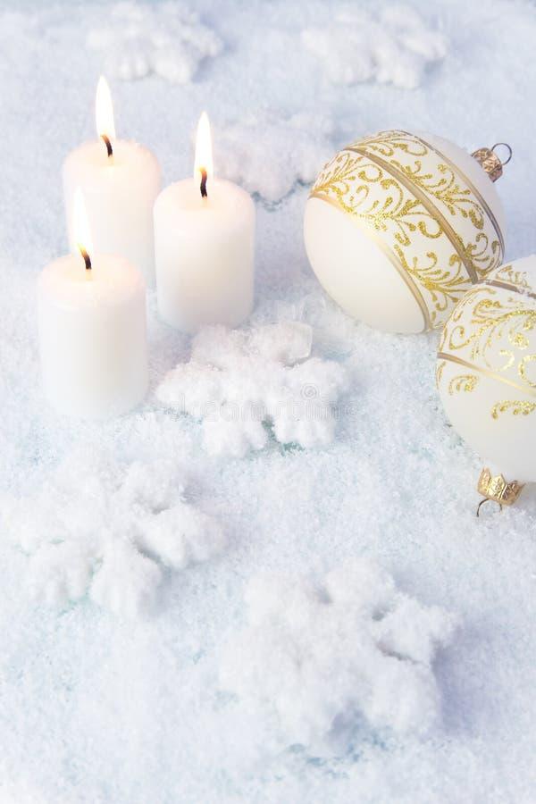 Elegance Christmas Background / Holiday Candles Stock Image