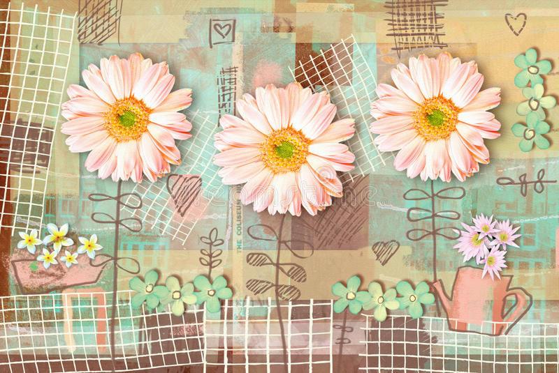 Elegance country postcard with beautiful pink gerbera flowers. vector illustration