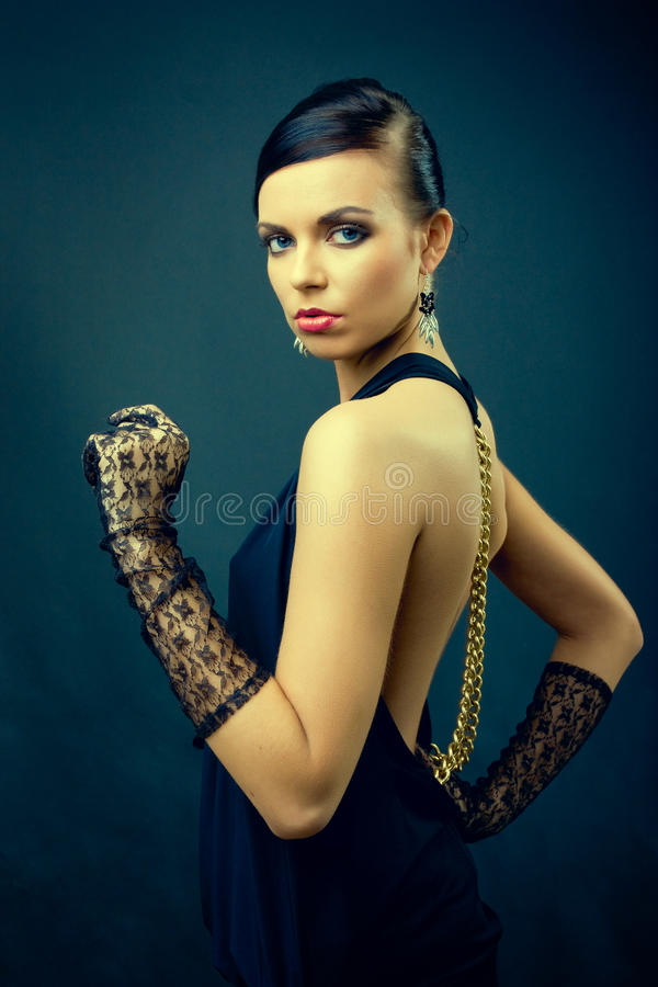 Download Elegance Dark Hair Woman Fashion With Gloves Stock Photo - Image: 22718746