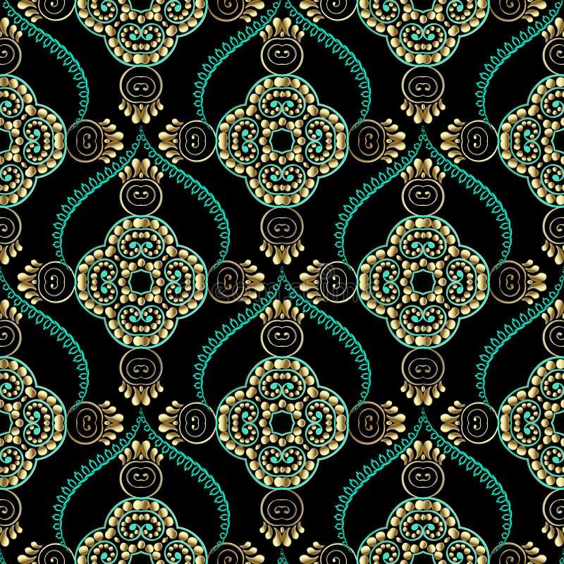 Elegance floral arabesque vector seamless pattern. Ornamental arabic background. Repeat patterned ornate backdrop. Vintage line art tracery paisley flowers vector illustration