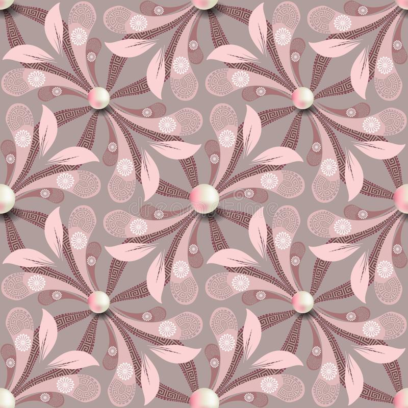Elegance floral greek vector seamless pattern. Jewelry pink background with 3d white pearls. Paisley flowers with greek stock illustration