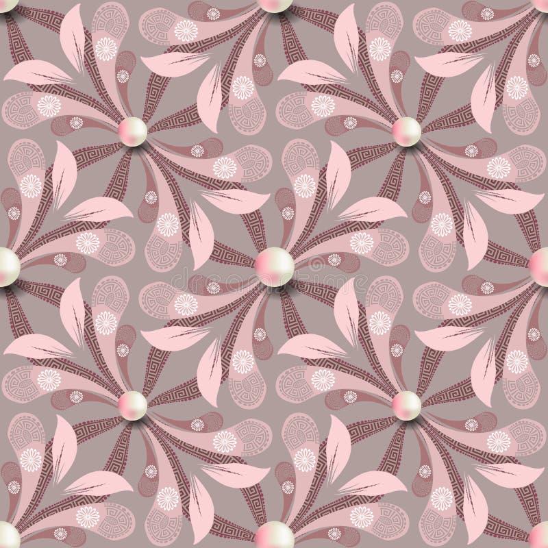 Elegance floral greek vetor sem descontinuidades Fundo cor-de-rosa joalharia com pérolas brancas 3d Flores de salsa com grego ilustração stock