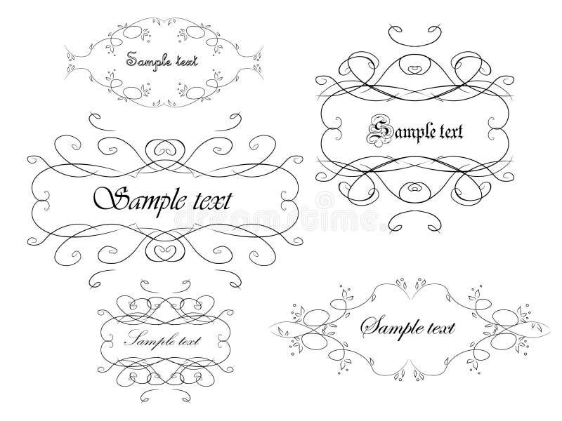 Elegance frames. Set of elegance frames isolated on white vector illustration