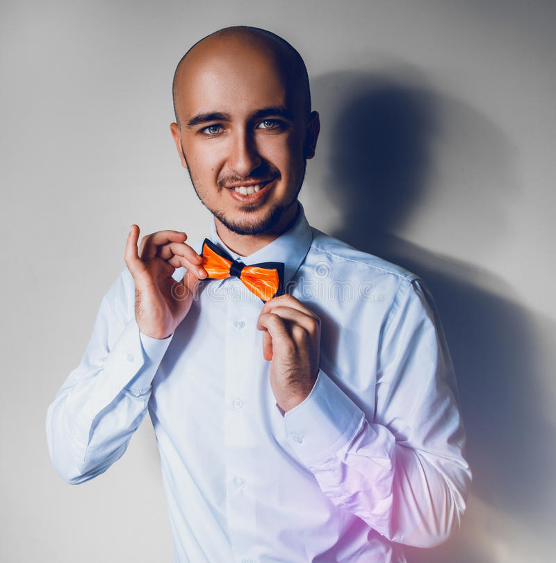 Download Elegance Man In Shirt And Bowtie Smiling On Camera Stock Photo - Image: 32831330