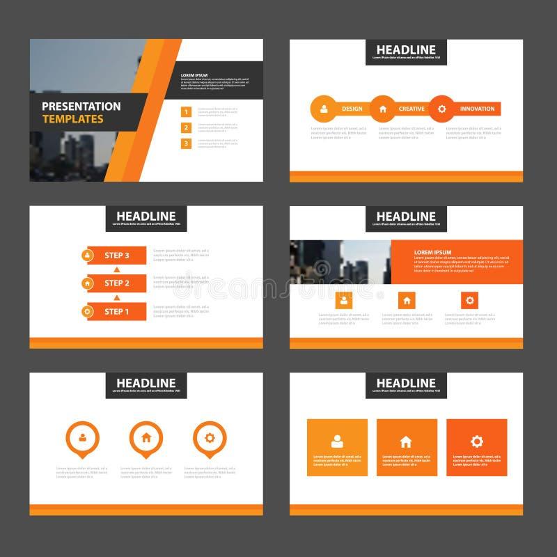 Elegance orange presentation templates Infographic elements flat design set for brochure vector illustration