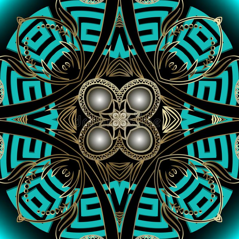 Elegance ornate floral 3d Paisley vetor sem descontinuidades Estilo grego de ornamentação moderna Mosaico Wallpaper ilustração do vetor