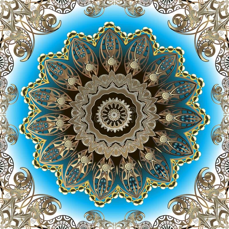 Elegance ornate gold Paisley vector seamless pattern. Beautiful floral arabic style round lace mandala. Ornamental luxury repeat vector illustration