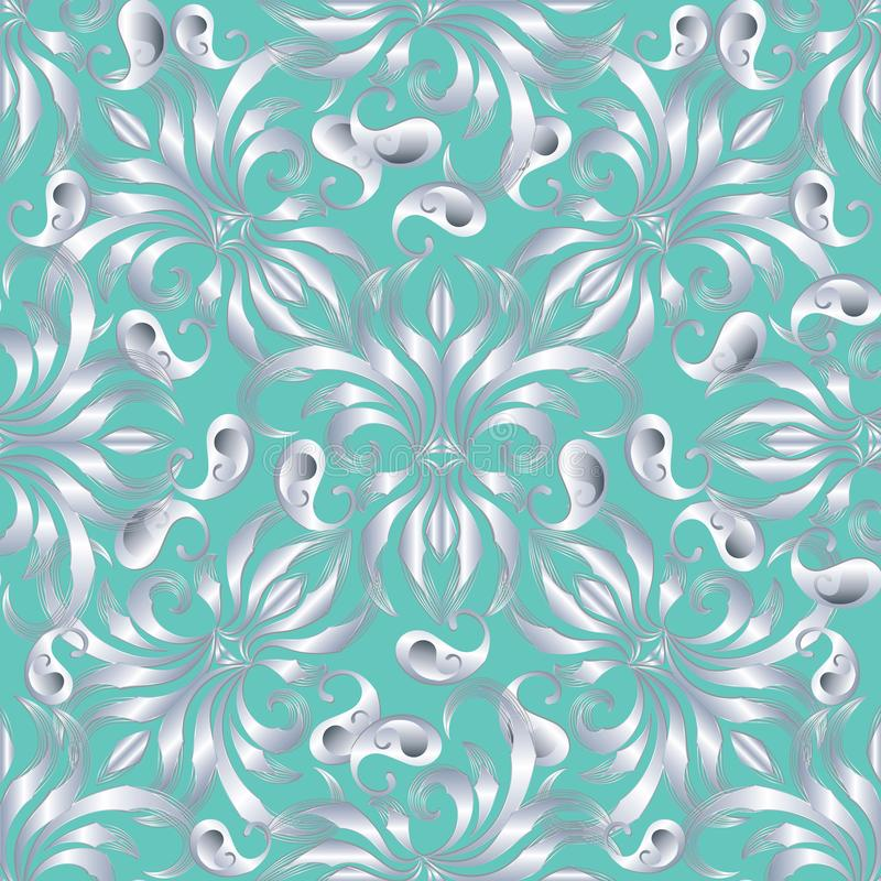 Elegance paisley seamless pattern. Vector floral turquoise background wallpaper illustration with vintage hand drawn silver vector illustration