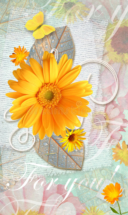 Elegance postcard with beautiful gerbera flowers and butterfly. stock illustration