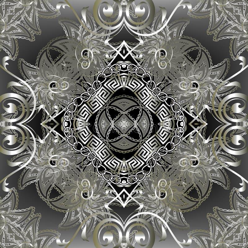 Elegance prata, padrão sem costura do vetor floral Estilo grego fundamental com fundo brilhante Ornar retrocesso de repetição ilustração royalty free