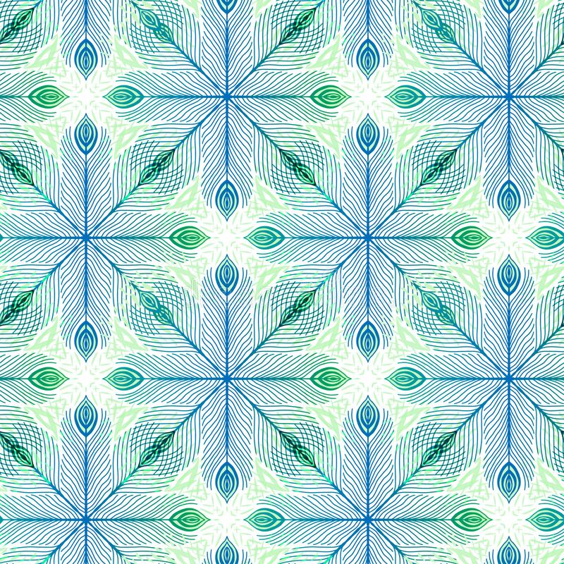 Elegance seamless background with feathers ornament. Pattern print for textile design. Ornate seamless pattern in green and blue stock illustration