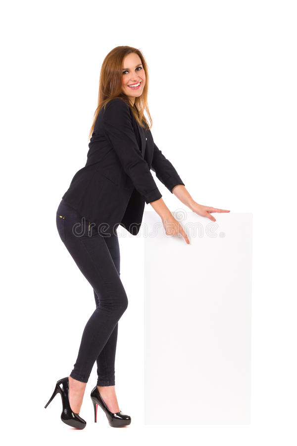 Elegance Woman Pointing At Blank Banner. Stock Photos