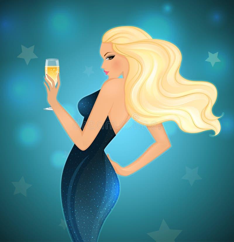 Eleganci blond kobieta z szampanem royalty ilustracja