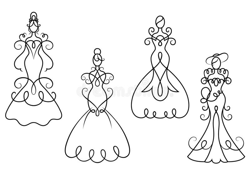 Eleganci kobiety suknie ilustracji