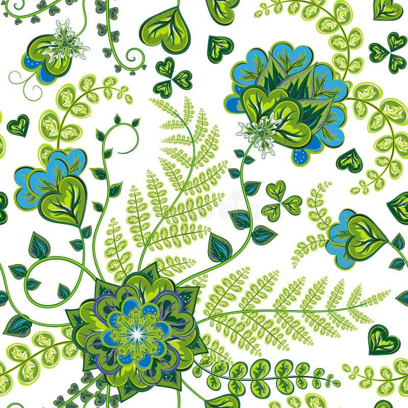 Eleganci Kolorowa tekstura dla dekorować tło Bezszwowy wzór z fantazi ręki remisem kwitnie Kwiecisty wektor ilustracji